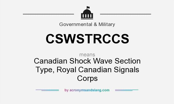 What does CSWSTRCCS mean? It stands for Canadian Shock Wave Section Type, Royal Canadian Signals Corps