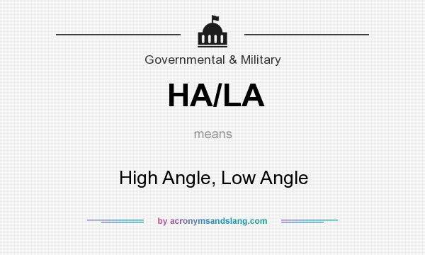 What does HA/LA mean? It stands for High Angle, Low Angle