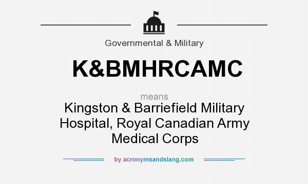 What does K&BMHRCAMC mean? It stands for Kingston & Barriefield Military Hospital, Royal Canadian Army Medical Corps