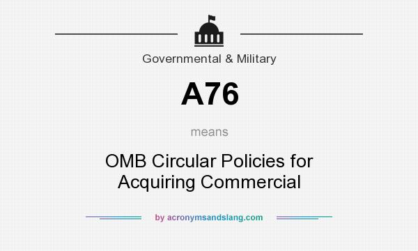 What does A76 mean? It stands for OMB Circular Policies for Acquiring Commercial