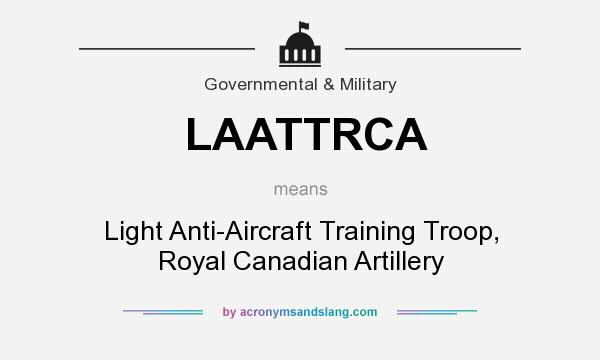 What does LAATTRCA mean? It stands for Light Anti-Aircraft Training Troop, Royal Canadian Artillery