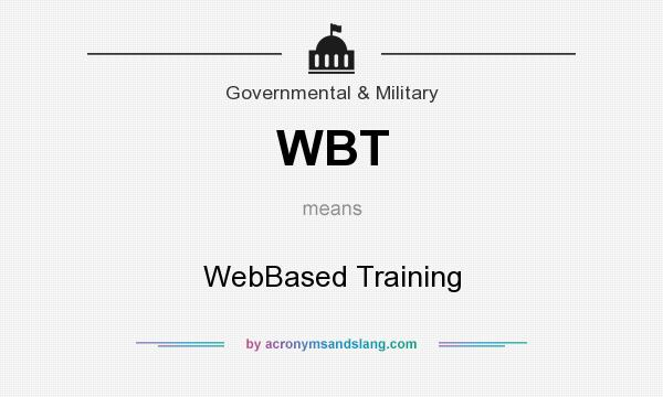 What does WBT mean? It stands for WebBased Training