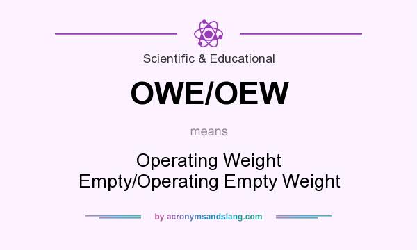 What does OWE/OEW mean? It stands for Operating Weight Empty/Operating Empty Weight