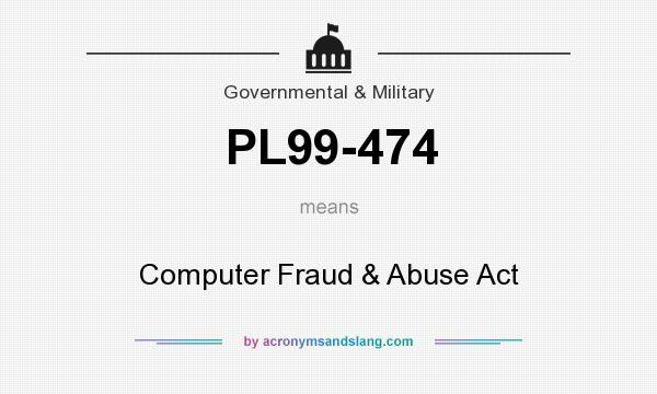 What does PL99-474 mean? It stands for Computer Fraud & Abuse Act