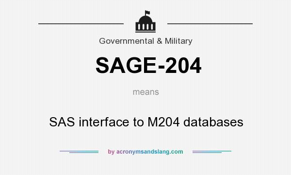 What does SAGE-204 mean? It stands for SAS interface to M204 databases