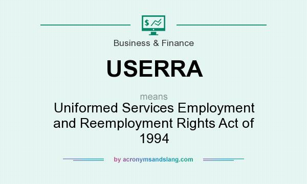 What does USERRA mean? It stands for Uniformed Services Employment and Reemployment Rights Act of 1994