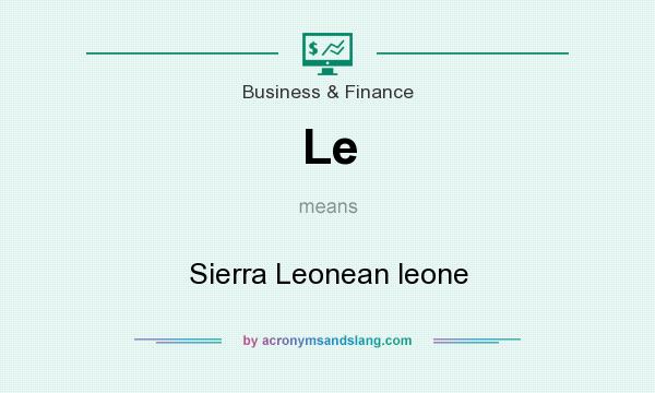 What does Le mean? It stands for Sierra Leonean leone