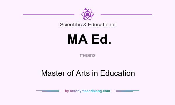 What does MA Ed. mean? It stands for Master of Arts in Education
