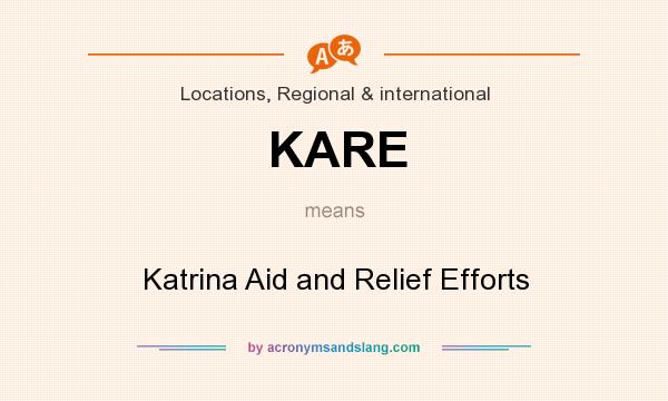 What does KARE mean? It stands for Katrina Aid and Relief Efforts