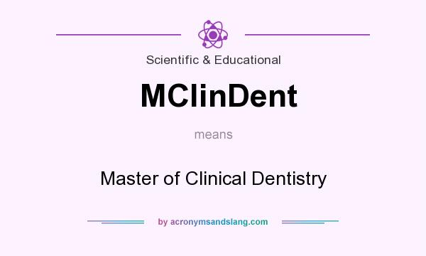 What does MClinDent mean? It stands for Master of Clinical Dentistry