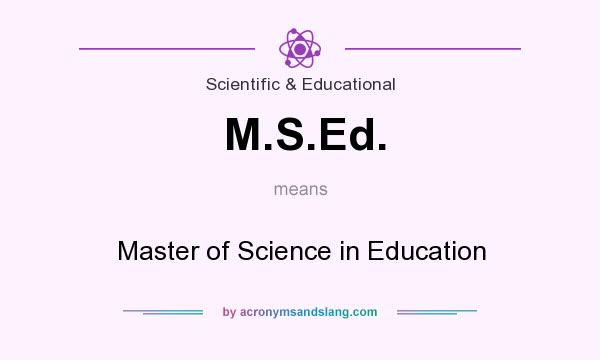 What does M.S.Ed. mean? It stands for Master of Science in Education