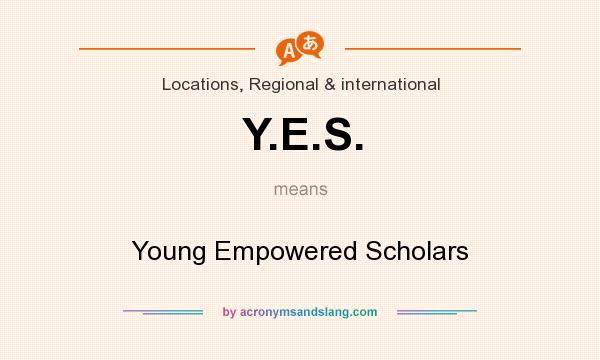 What does Y.E.S. mean? It stands for Young Empowered Scholars
