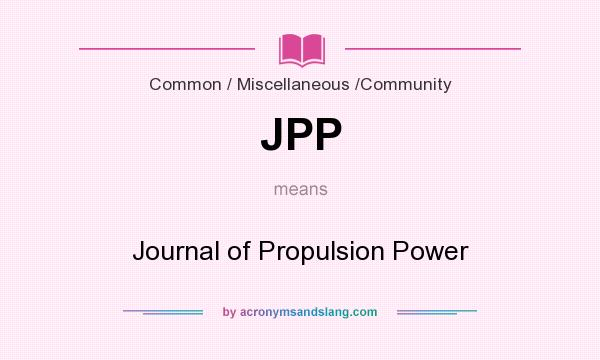 Jpp Journal Of Propulsion Power By Acronymsandslang Com