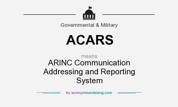 What does ACARS mean? It stands for ARINC Communication Addressing and Reporting System