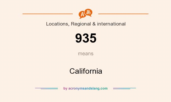 What does 935 mean? It stands for California