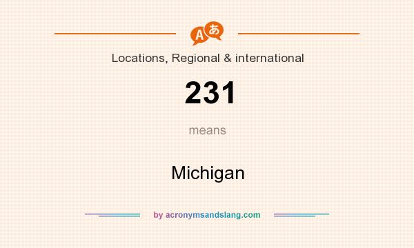 What does 231 mean? It stands for Michigan