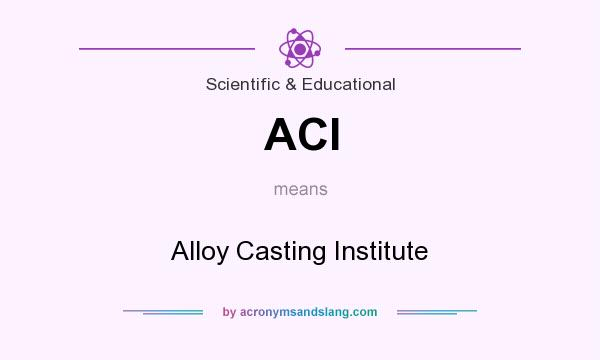 What does ACI mean? It stands for Alloy Casting Institute
