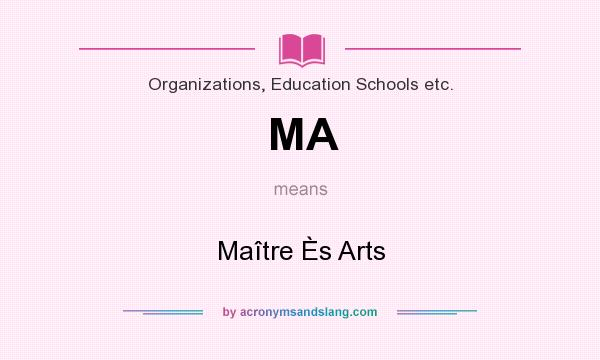 What does MA mean? It stands for Maître Ès Arts