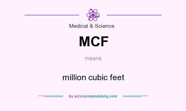 What does MCF mean? It stands for million cubic feet