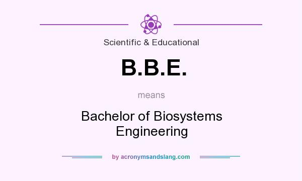What does B.B.E. mean? It stands for Bachelor of Biosystems Engineering