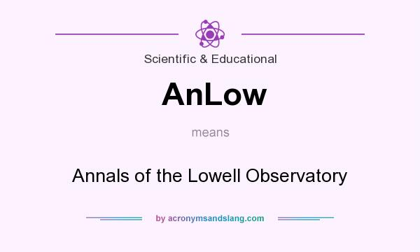 What does AnLow mean? It stands for Annals of the Lowell Observatory