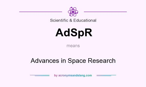 What does AdSpR mean? It stands for Advances in Space Research