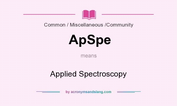 What does ApSpe mean? It stands for Applied Spectroscopy