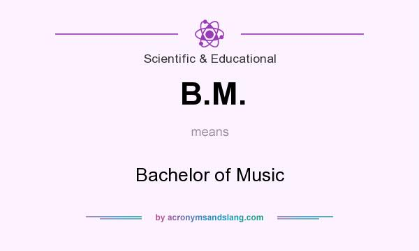What does B.M. mean? It stands for Bachelor of Music