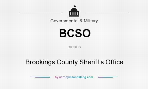 What does BCSO mean? It stands for Brookings County Sheriff`s Office