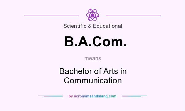 What does B.A.Com. mean? It stands for Bachelor of Arts in Communication