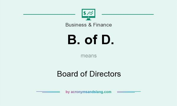 What does B. of D. mean? It stands for Board of Directors
