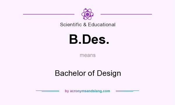 What does B.Des. mean? It stands for Bachelor of Design