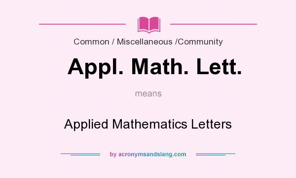 What does Appl. Math. Lett. mean? It stands for Applied Mathematics Letters