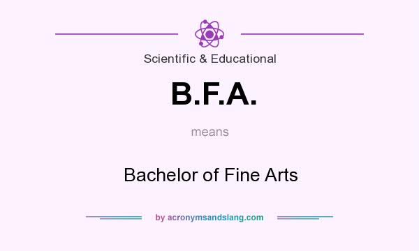 What does B.F.A. mean? It stands for Bachelor of Fine Arts