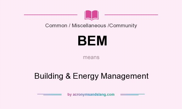 What does BEM mean? It stands for Building & Energy Management