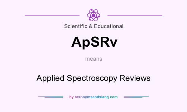 What does ApSRv mean? It stands for Applied Spectroscopy Reviews