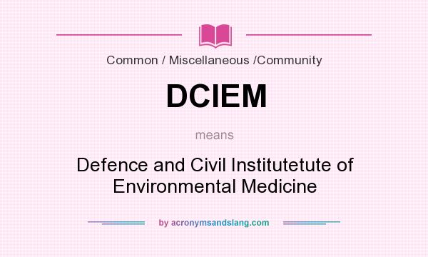 What does DCIEM mean? It stands for Defence and Civil Institutetute of Environmental Medicine