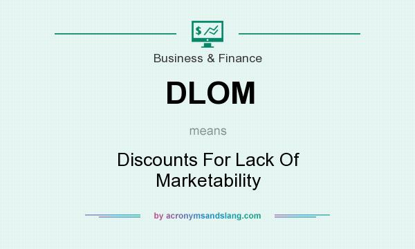 What does DLOM mean? It stands for Discounts For Lack Of Marketability