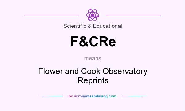 What does F&CRe mean? It stands for Flower and Cook Observatory Reprints