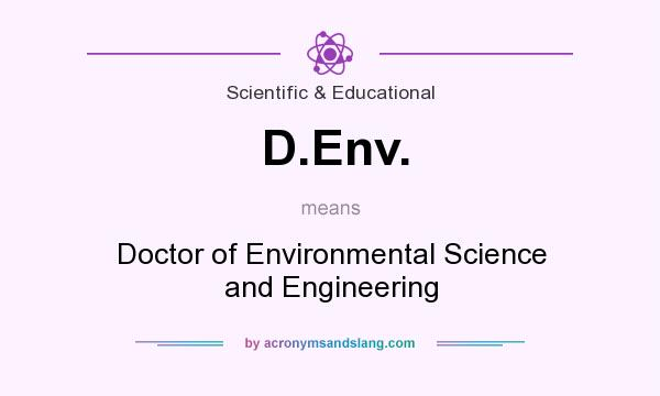 What does D.Env. mean? It stands for Doctor of Environmental Science and Engineering