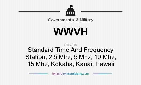 What does WWVH mean? It stands for Standard Time And Frequency Station, 2.5 Mhz, 5 Mhz, 10 Mhz, 15 Mhz, Kekaha, Kauai, Hawaii