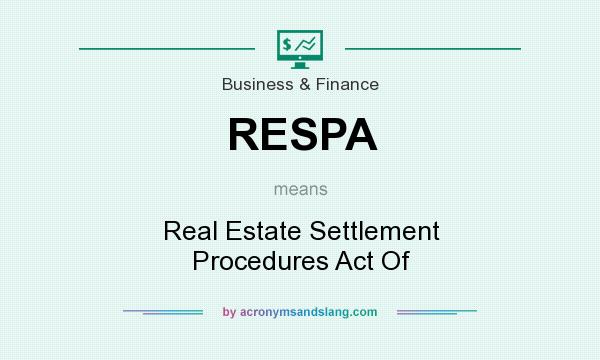 What does RESPA mean? It stands for Real Estate Settlement Procedures Act Of