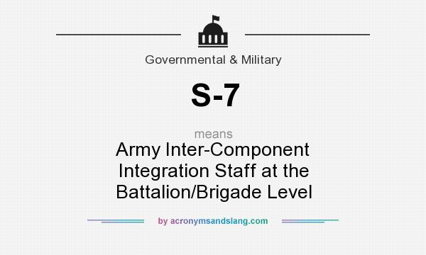 What does S-7 mean? It stands for Army Inter-Component Integration Staff at the Battalion/Brigade Level