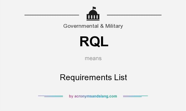 What does RQL mean? It stands for Requirements List