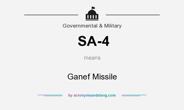 What does SA-4 mean? It stands for Ganef Missile