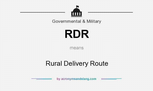 What does RDR mean? It stands for Rural Delivery Route