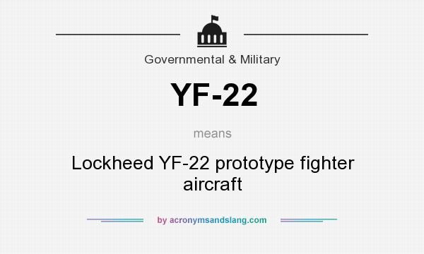 What does YF-22 mean? It stands for Lockheed YF-22 prototype fighter aircraft