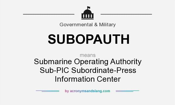 What does SUBOPAUTH mean? It stands for Submarine Operating Authority Sub-PIC Subordinate-Press Information Center