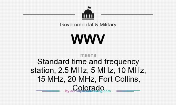 What does WWV mean? It stands for Standard time and frequency station, 2.5 MHz, 5 MHz, 10 MHz, 15 MHz, 20 MHz, Fort Collins, Colorado