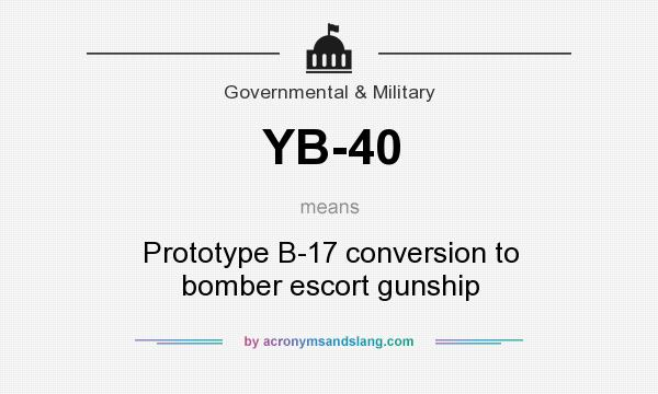 What does YB-40 mean? It stands for Prototype B-17 conversion to bomber escort gunship